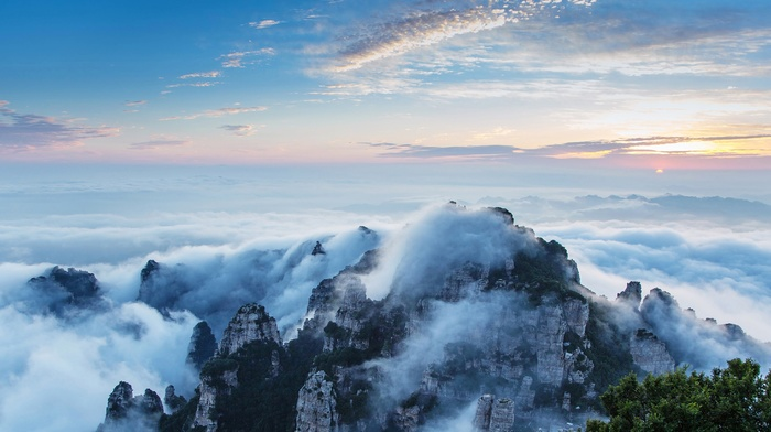 sky, nature, mountains, trees, China, clouds, photography, landscape, mist