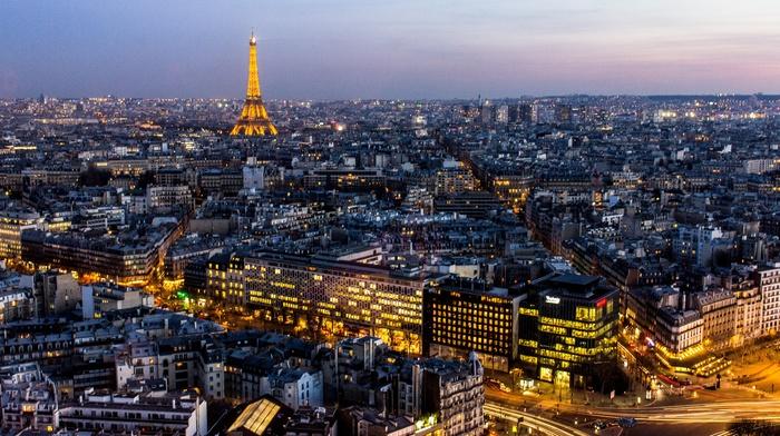 Eiffel Tower, France, cityscape, sunset, architecture, city, lights, night, urban, Paris, street, long exposure, skyline