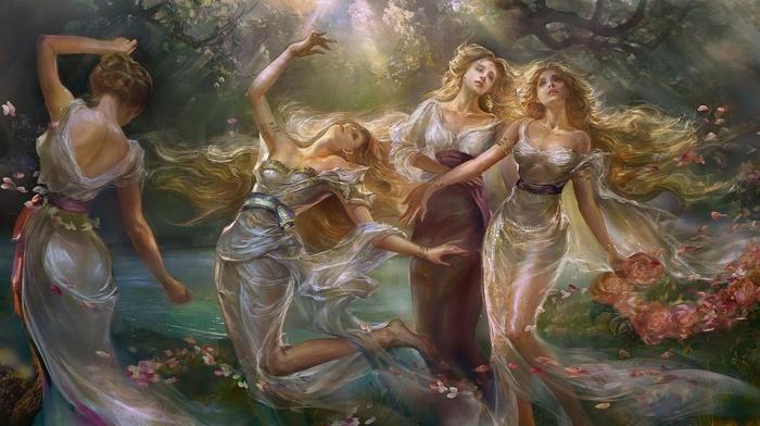 flowers, blonde, sunlight, sisters, windy, see, through clothing, fantasy art, painting, artwork, long hair