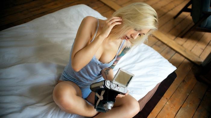 blonde, sideboob, panties, tank top, cleavage, camera, tattoo, Miro Hofmann, lingerie, sitting, girl