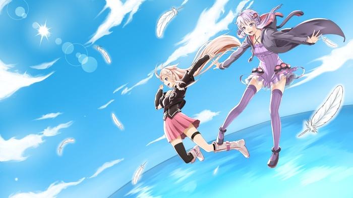 anime girls, ia vocaloid, feathers, anime, Vocaloid, Yuzuki Yukari, sky