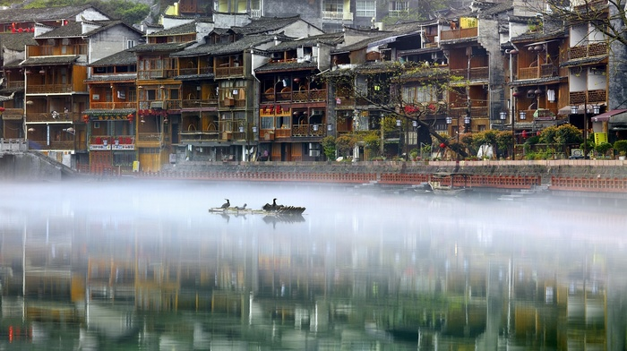 river, China, reflection, water, house, nature, landscape, Phoenix Ancient Town, birds, photography, mist