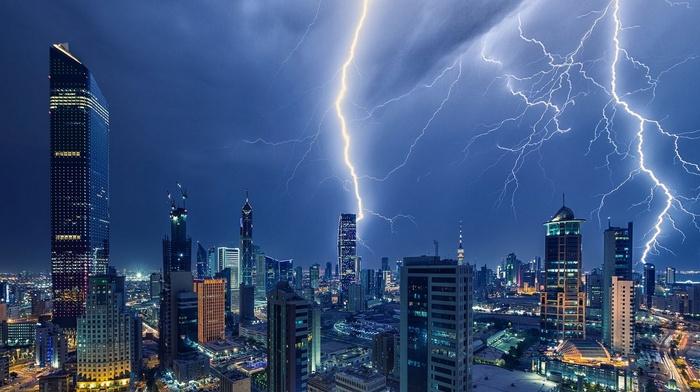 storm, night, lightning, Kuwait City, architecture, landscape, lights, building, photography, skyscraper