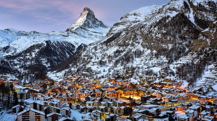 mountains, snow, city, landscape, Zermatt, lights, Matterhorn, winter, architecture, Swiss Alps, town, Switzerland, photography