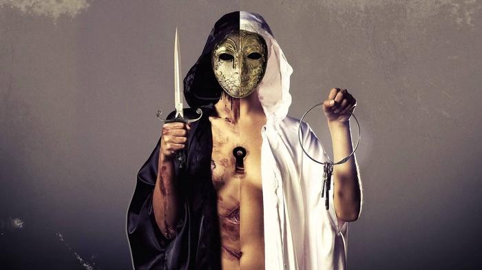 Bring Me the Horizon, rock music, rock bands, mask, knife