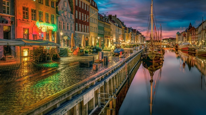 reflection, canal, cobblestone, photography, Copenhagen, old building, urban, water, architecture, boat, Denmark, city, landscape, lights