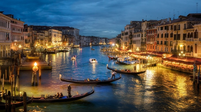 architecture, evening, lights, Venice, landscape, photography, gondolas, canal, old building, urban, Italy, sea