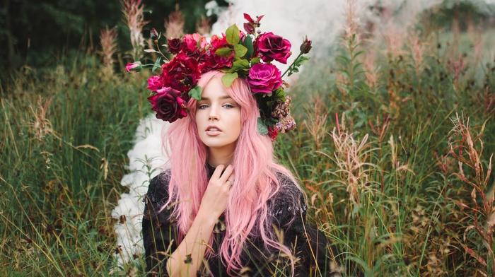 looking at viewer, girl outdoors, flowers, pink hair, model, wreaths, girl, blue eyes, rose