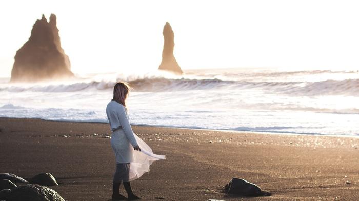 beach, girl outdoors, waves, white dress, girl, model, rock