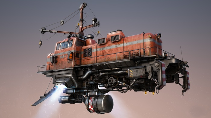dieselpunk, simple background, technology, pipes, vehicle, diesel locomotive, flying, digital art, steampunk airship, futuristic, artwork, CGI, floating, dieselpunk airship, drawing, steampunk, machine