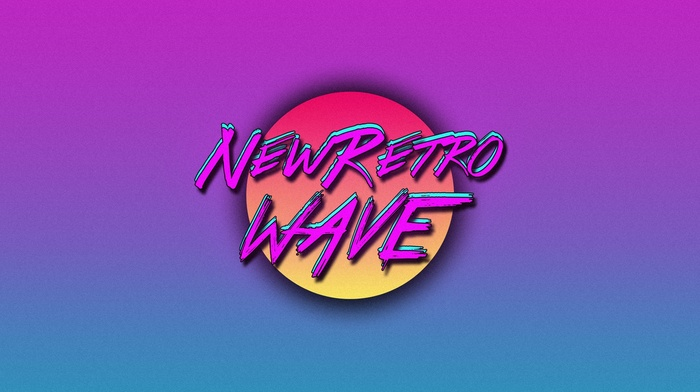 retro games, vintage, typography, simple background, neon, New Retro Wave, synthwave, 1980s, digital art