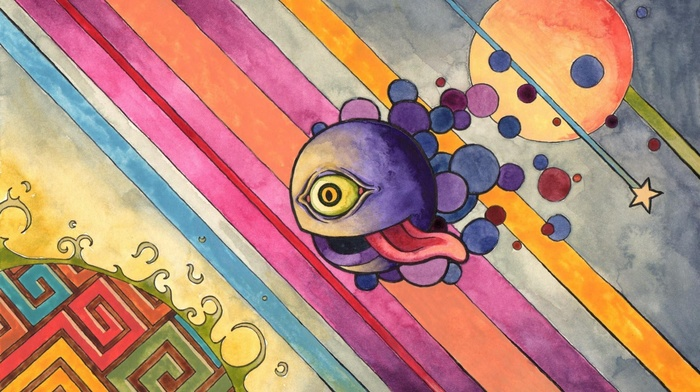 tongues, abstract, psychedelic, eyes, colorful, circle, digital art, lines, stars, surreal