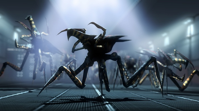 creature, screen shot, space, movies, universe, military base, Starship Troopers, aliens, Arachnids