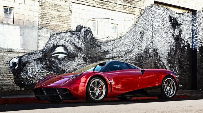graffiti, Pagani, wall, red cars, artwork, bricks, pagani huayra, garages, vehicle, car, sports car