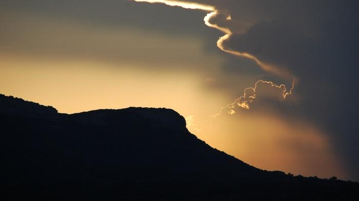 hills, evening, simple, silhouette, minimalism, nature, clouds, landscape, sunlight