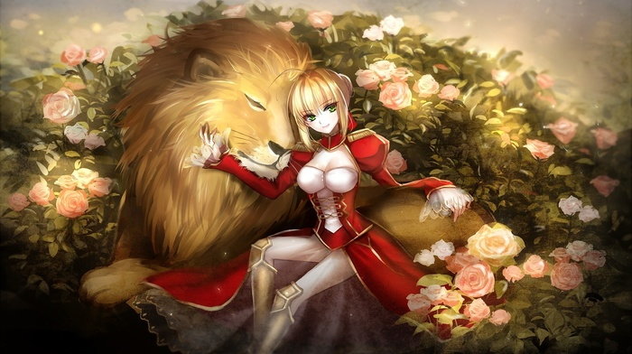 lion, rose, FateExtra CCC, Saber, Saber Extra, fate series