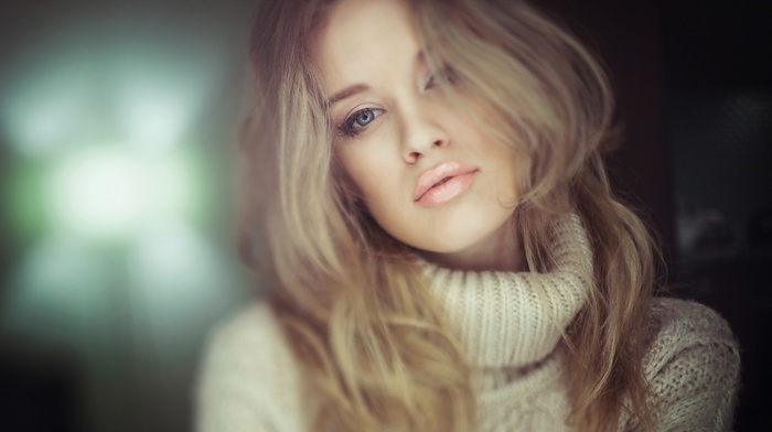 girl, hazy, portrait, Jason Harynuk, face, Danielle Taylor, sweater, depth of field, blue eyes, blonde, juicy lips