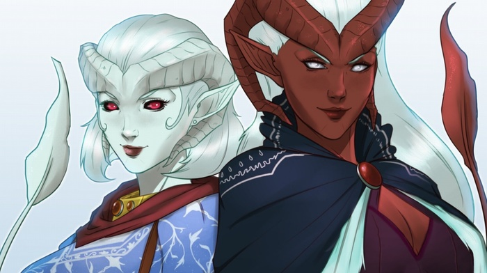 white hair, tiefling, Critical Role, Zahra, Lillith Daturai, fan art