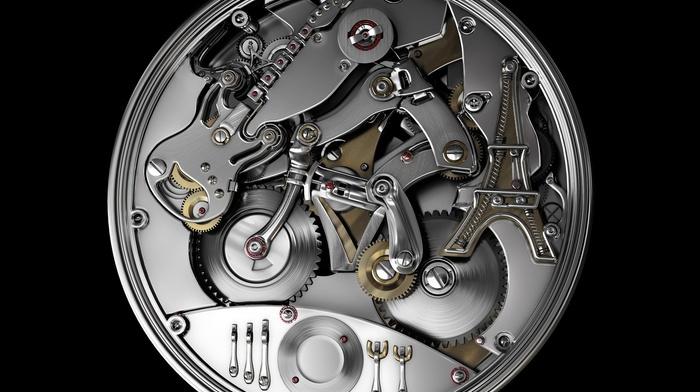 clocks, Eiffel Tower, guitar, black background, simple background, gears, plates, technology, rear view, clockworks, metal, bicycle, screw, watch, cutlery, clockwork