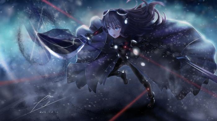 sword, anime girls, original characters