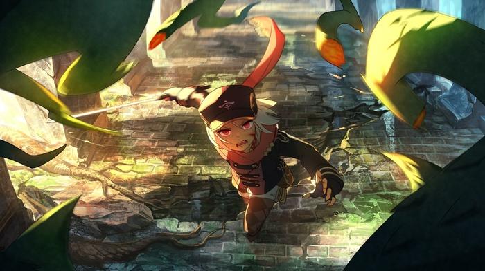 original characters, red eyes, scarf, sword, hat