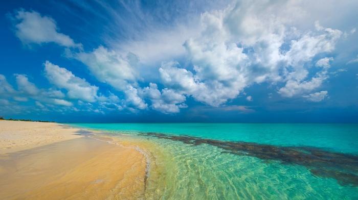 landscape, Caribbean, nature, sea, white, beach, sand, island, summer, tropical, clouds, turquoise