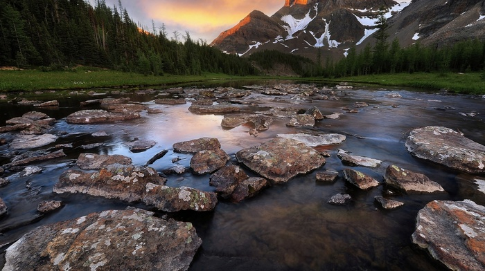 river, trees, nature, clouds, landscape, summer, snowy peak, mountains, sunset, sunlight