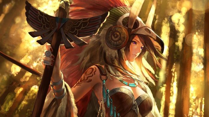 girl, tribal, fantasy art, sunset