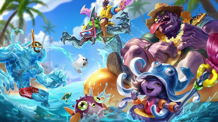 Dr. Mundo, pool party, Rek Sai, Lulu League of Legends, Zac League of Legends, Draven, League of Legends