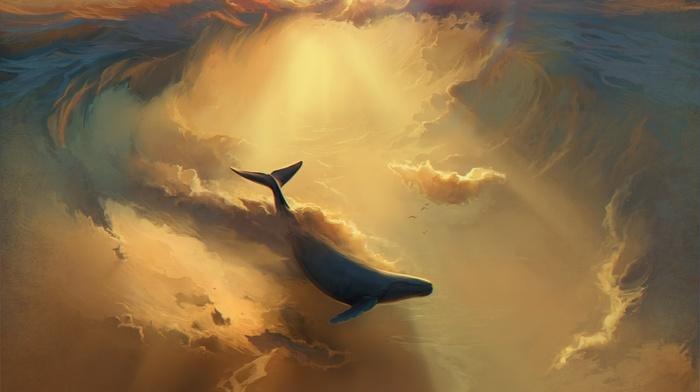 sky, drawing, ship, flying, digital art