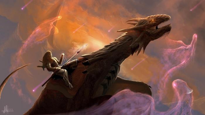 warrior, drawing, flying, sky, digital art, dragon