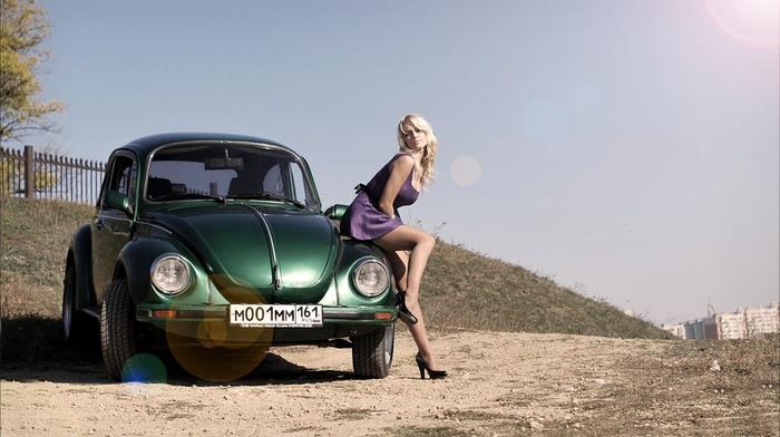 violet dress, high heels, dress, Volkswagen Beetle, black heels, blonde, girl with cars