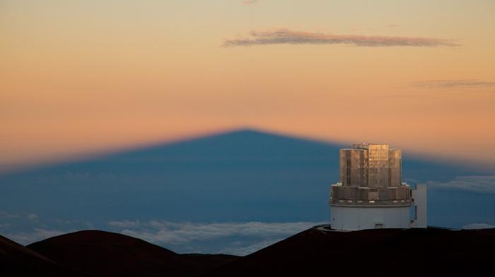 depth of field, Subaru, hills, landscape, Hawaii, clouds, observatory, building, nature, architecture, USA, telescope, sunset