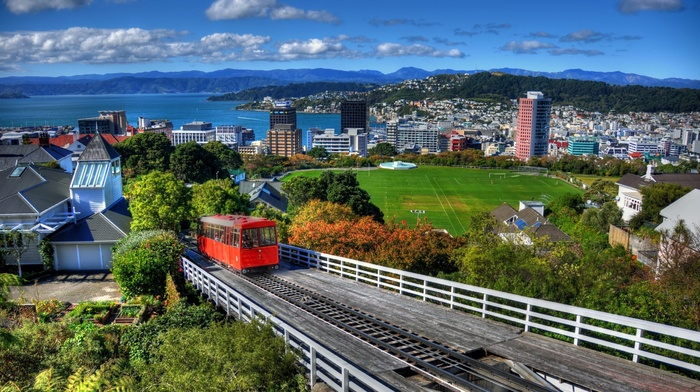 grass, New Zealand, house, architecture, cityscape, train, building, Wellington, clouds, city, railway, hills, trees, sea, Soccer Field