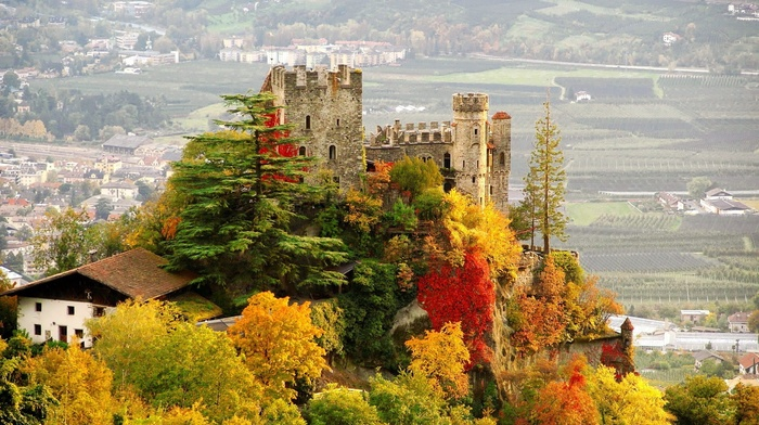Tyrol, hills, Italy, castle, village, house, landscape, ancient, ruin, fall, architecture, tower, trees, building