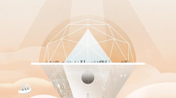 simple background, digital art, people, sphere, PCB, minimalism, pyramid, triangle