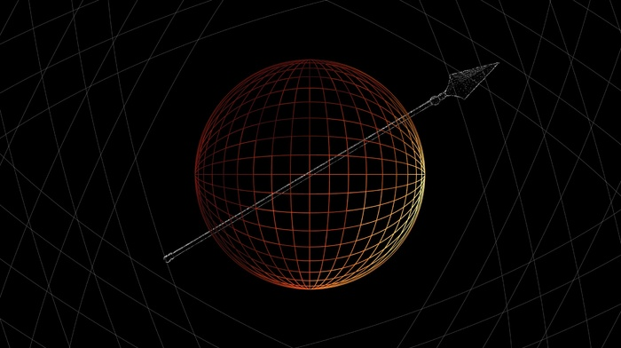 spear, digital art, sphere, 3D, lines, CGI, minimalism, simple background, black background