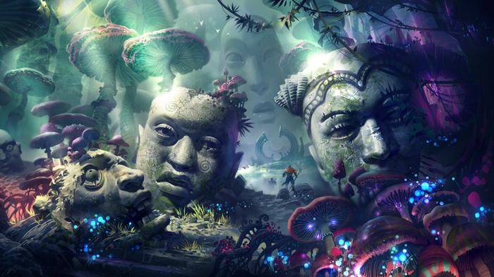 warrior, sculpture, statue, psychedelic, fantasy art, head, mushroom, sun rays, artwork
