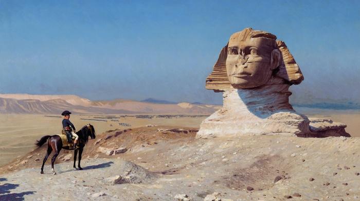 sand, statue, horse, army, artwork, desert, Napoleon Bonaparte, Jean, Lon Grme, Sphinx of Giza, painting, sculpture, stones