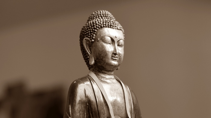 artwork, statue, simple background, Buddha, sepia, buddhism, face, closed eyes, depth of field, meditation, sculpture