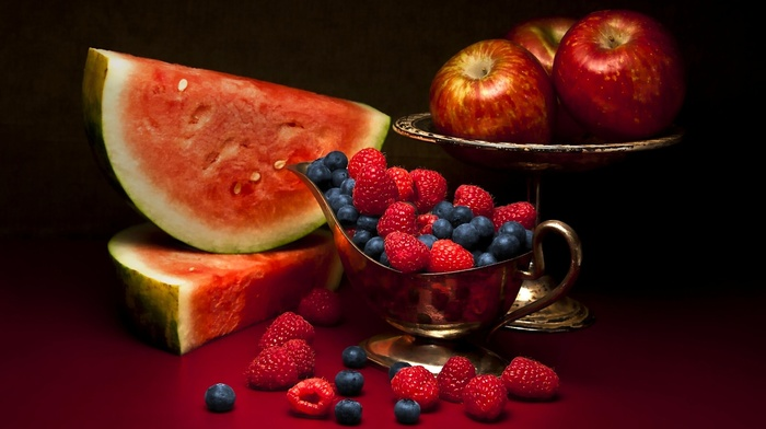 food, watermelons, fruit, apples, berries