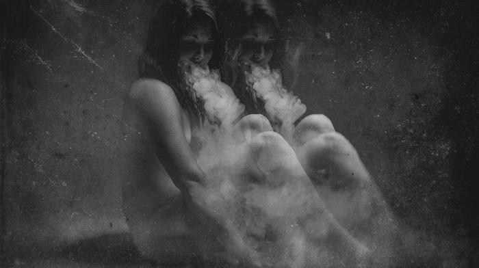 monochrome, smoke, strategic covering, girl