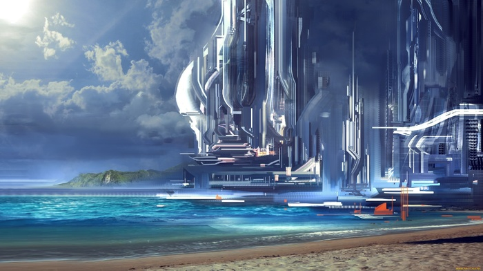 ports, artwork, futuristic, science fiction, building