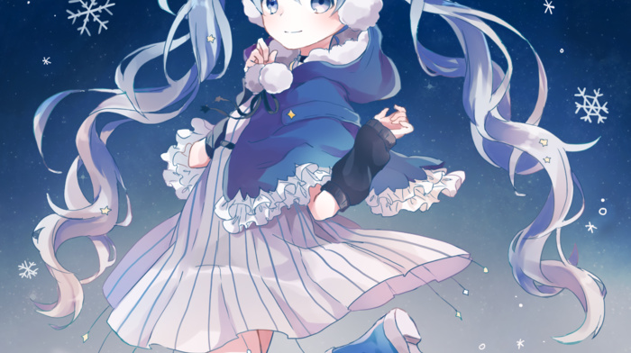 twintails, blue hair, snow flakes, skirt, long hair, anime, blue eyes, anime girls, Hatsune Miku, detached sleeves, shoes, Vocaloid, winter, blue shoes, socks