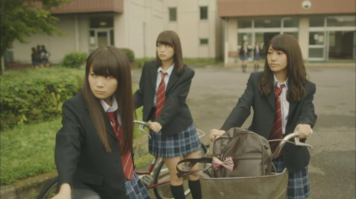 Japanese girl, Asian, outdoors, Nogizaka46, girl, long hair, group of girl, brunette, schoolgirl, girl with bicycles, looking away