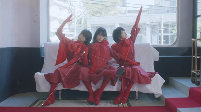 sitting, gloves, group of girl, girl, red dress, Nogizaka46, brunette