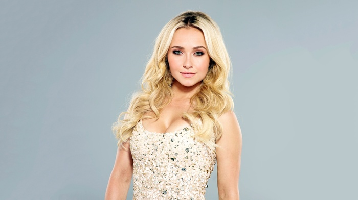 white dress, portrait, simple background, celebrity, Hayden Panettiere, girl, long hair, cleavage