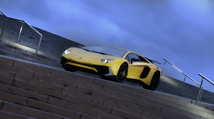 stairs, vehicle, Super Car, car, Lamborghini Aventador LP750, 4 SV