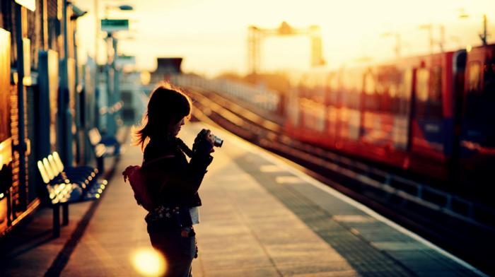 train station, sunset, camera, girl, depth of field, bokeh