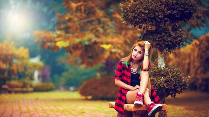 bench, girl, model, girl outdoors